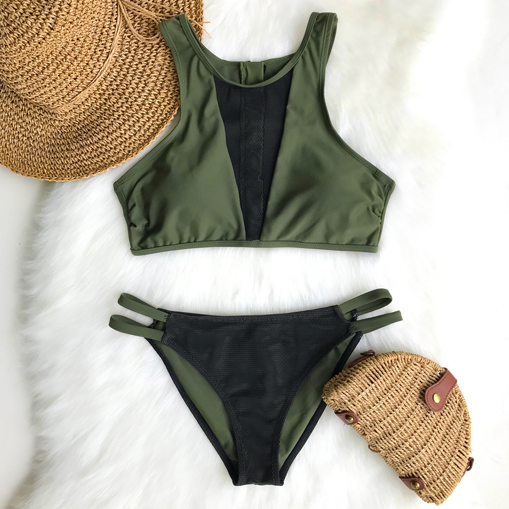 Cupshe Love Freedom Mesh Bikini Set V-neck Triangle Swimsuit Bathing Suit  Brazilian Biquini Monokini  Maillot De Bain недорого