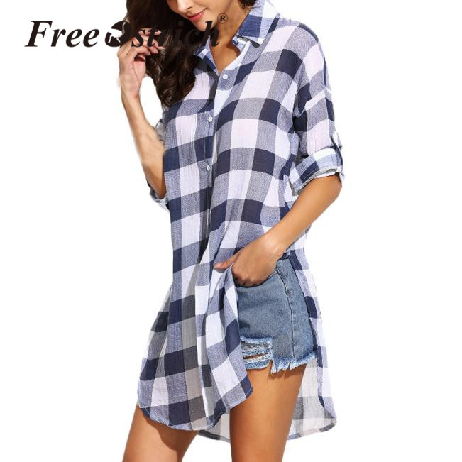 a9c1115971 Free Ostrich Plaid Shirts 2019 Fashion Button Turn-down Collar Women Casual  Loose Long Blouse
