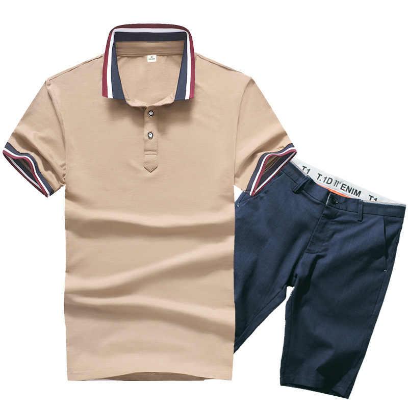男ポロシャツセット 95% 綿 5% ポリエステル夏ブラウン白人男性品質半袖膝丈ポロシャツショーツスーツ