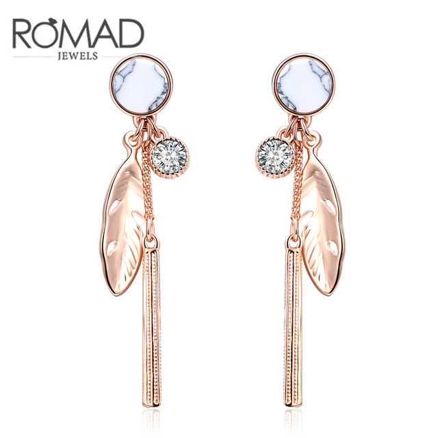 Feathers stud earrings Creative New Arrival Rose Gold Color Long Earrings Feather Stud Earrings  for Women Fashion Jewelry Good Gift