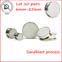 BOG-10Pairs Sandstrahl Glitter Silber Schraube Fit Ear Plugs Tunnel Expander Keil Taper Earlet Messgeräte Ohrring Piercing