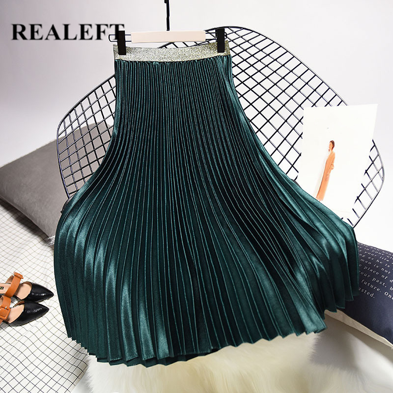 REALEFT 2019 New Arrival Women Fashion Long Pleated Skirts Street Style High Waist Solid Velvet Chic Mid-calf Skirts For Womens