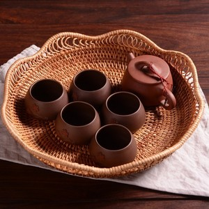 Image 3 - Juego de cesta de mimbre tejida de bambú Natural artesanal, contenedor de almacenamiento creativo hueco redondo para fruta, comida, pan, utensilios de cocina grandes