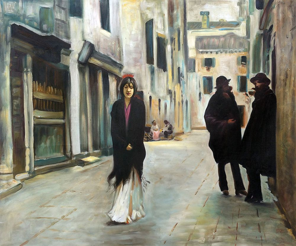 100% Handmade Painting for Office Wall Decor Street in Venice by John Singer Sargent Abstract Oil Painting No Framed