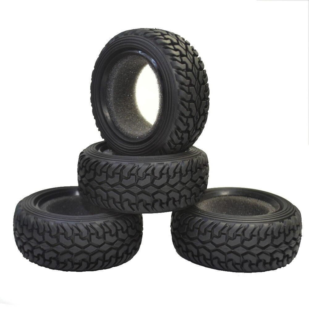 4 unids alto rendimiento RC Rally Car grano negro caucho neumáticos para 1:10 4WD RC en el camino coche traxxas tamiya HPI kyosho HSP