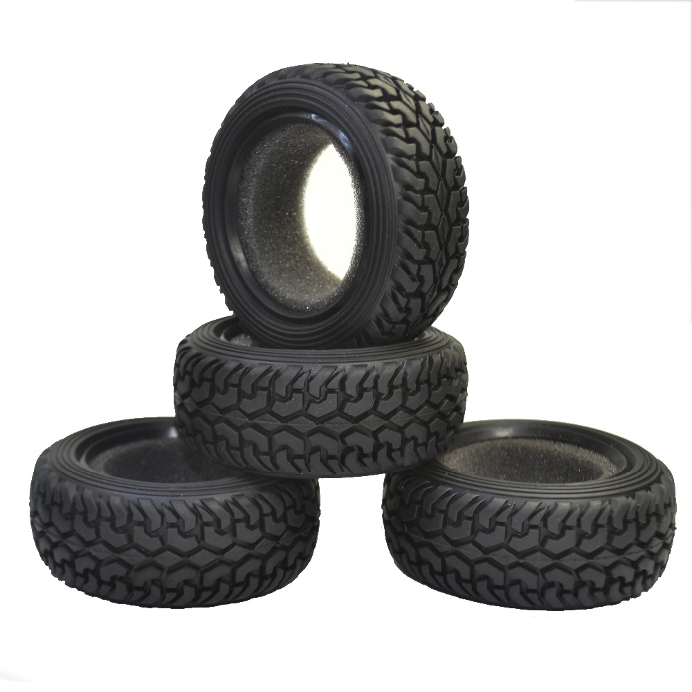 4PCS High Performance RC Rally Car Black Grain Rubber Däck Däck för 1:10 4WD RC På Road Car Traxxas Tamiya HPI Kyosho HSP
