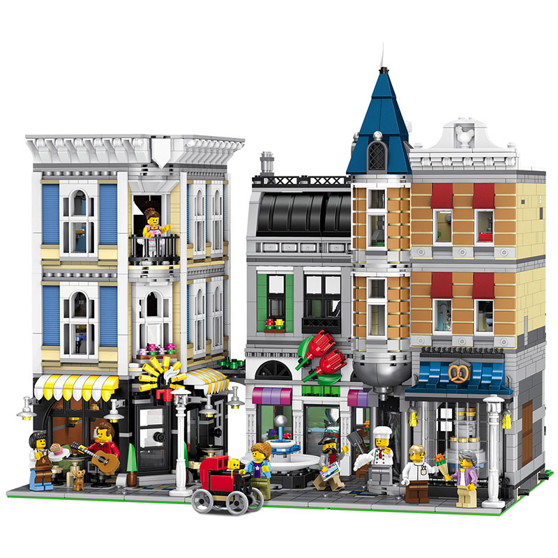 4002PCS Best Large Building Blocks Sets City Street Center Rally Square Compatible LegoINGLYS Creator Technic Toys for Children hm136 57pcs large particle building