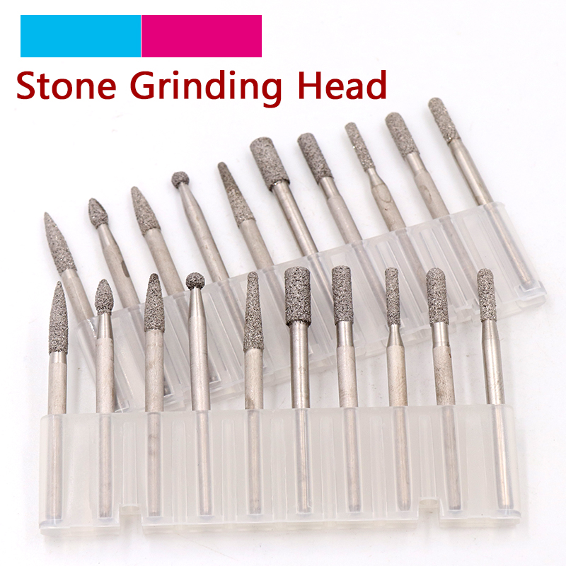 10pcs Grit 150 Brazed Diamond Grinding Head 3mm Shank Carving Burrs For Metal Jade Peeled Agate Granite Stone Carving Tools