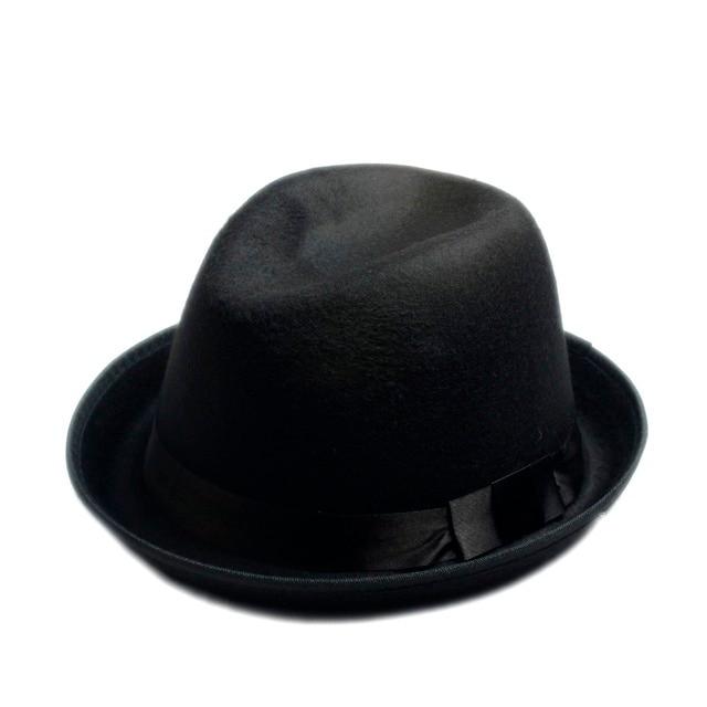 63fa12c17d1 Unisex Men Women Wool felt fedora hat Felt Floppy Ribbon Band England  Panama Jazz elegant gorras hombre Gangster Cap
