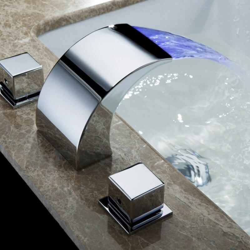 Температура управления светодиодный кран водопроводной воды Ванная комната Водопад кран Смесители для ванной комнаты светодиодный кран ...