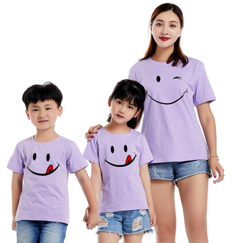 Parents and Children Cotton Short T-shirt Family Summer T-shirts Smiley Face Mother Kids Solid 4 Colors Lovers Wear