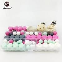 Let's Make Silicone Beads Pacifier Clip Eco Baby Teething Beads Set Nursing DIY Chew Jewelry Silicone Baby Teether Necklace
