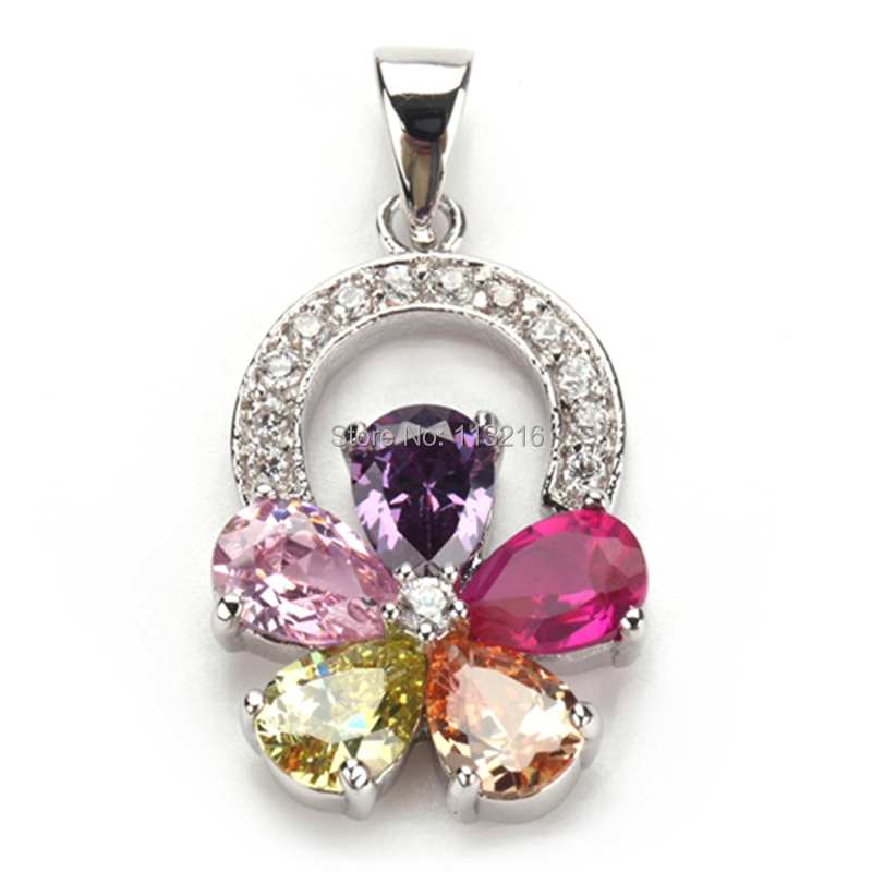 Pink Purple Morganite Peridot Cubic Zirconia Silver Plated Casual pendant P505 Wholesale Trendy Jewelry Favourite Best Sellers