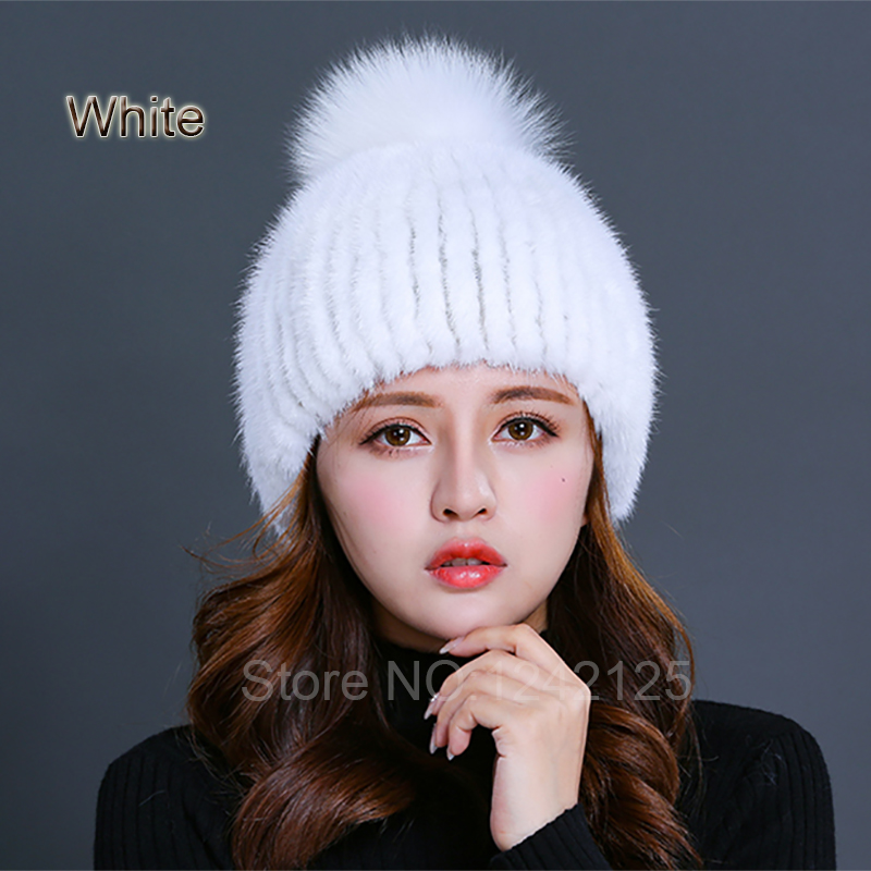 New winter sweet women men girl boy knitted real mink fur hat warm striped with genuine fox fur ball real mink weave hats capsNew winter sweet women men girl boy knitted real mink fur hat warm striped with genuine fox fur ball real mink weave hats caps