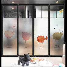 Window Glass stickers Nordic Flamingo glass window Frosted Windows sticky bathroom tiles paste