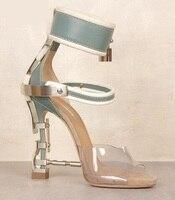 Luxury Brand Women Lavender Ankle Strap Sandal Metal Heel Crystal Ankle Lock Sandals Strange Heel Crystal