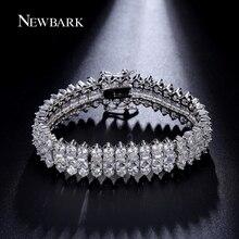 NEWBARK Luxurious Unisex Copper Bracelet Silver Color Prong Setting Cubic Zirconia Chain Link Bracelets For Women