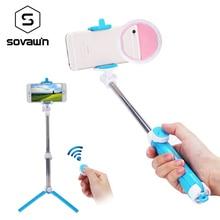 Sovawin мини штатив селфи палка Bluetooth, удлиняющийся Монопод универсальный для смартфонов с дистанционным светодиодный Eing свет опционально