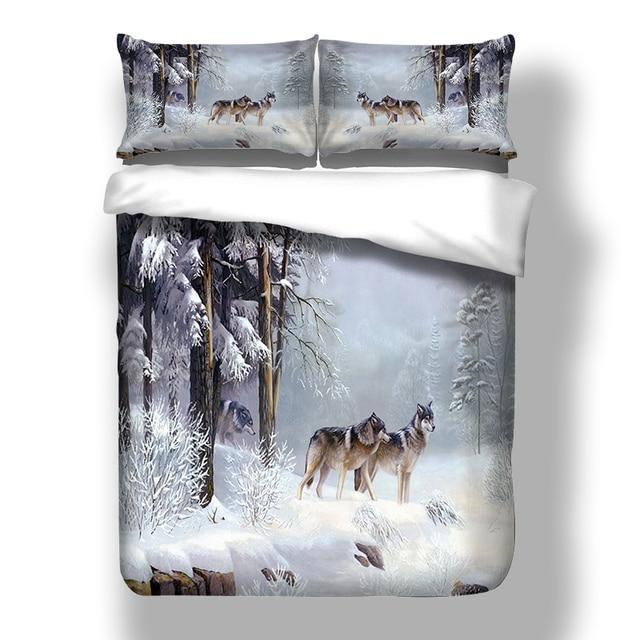 Juego de ropa de cama con funda de edredón de Snow Wolf, cama doble, tamaño King Size, 3 uds.
