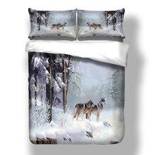 Schnee Wolf Duvet Abdeckung Bettwäsche Set Bettlaken Twin Voll Königin König Größe 3PCS