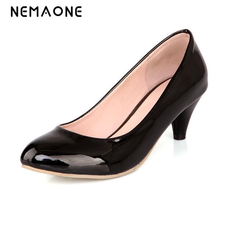 2017 Women's Black High Heels Low Heel 4cm Red Black Nude Platform Pointed Toe High Heels Work Pumps Shoes for Women