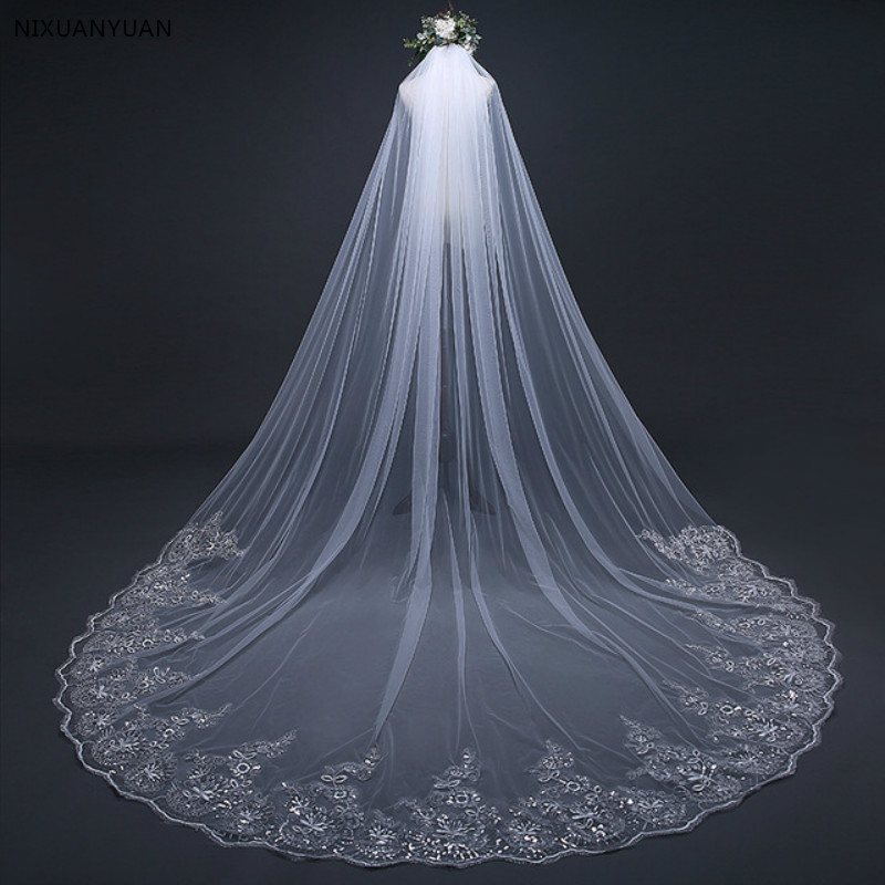 3 Meter Long White Ivory Cathedral Wedding Veils Lace Edge Bridal Veil With Comb Wedding Accessories Bride Wedding Veil