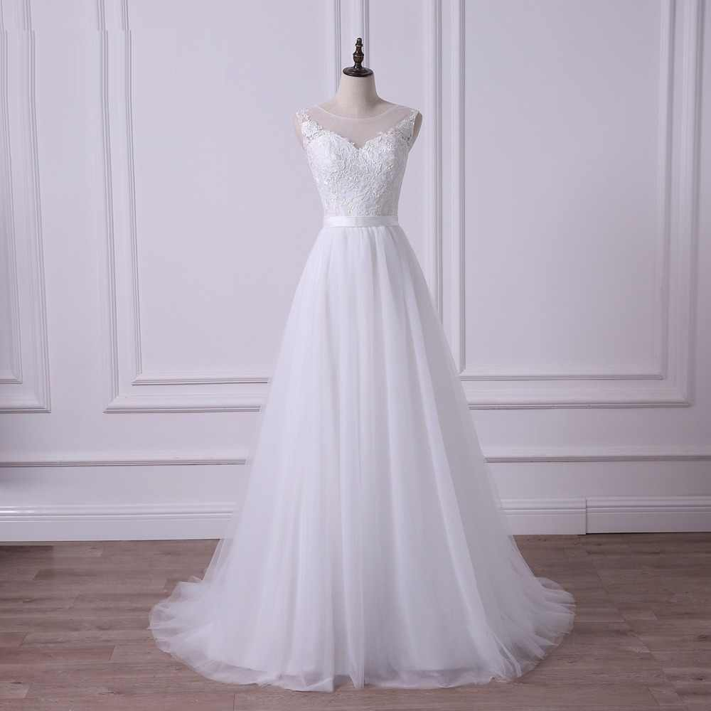 ADLN 2019 Scoop A-line Lace Wedding Dress Illusion Bodice Simple White/Ivory Sexy Plus Size Bridal Gown Vestidos de Novia