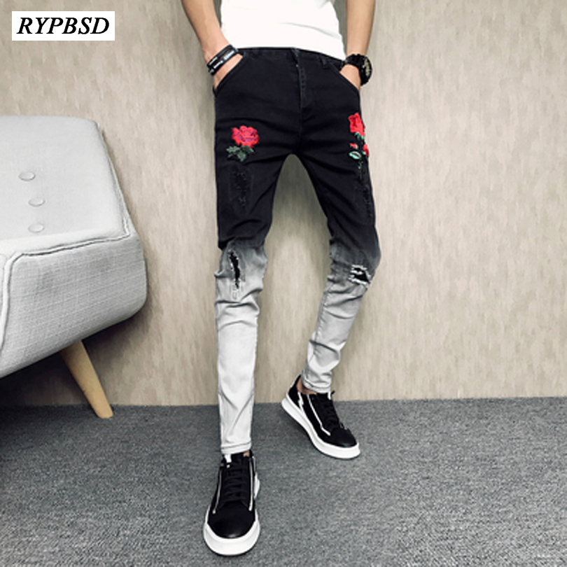 Men Jeans Trousers New 2019 High Quality Fashion Casual Ripped Denim Men Pants Jeans Trousers Male Black Men Skinny Jeans Pants