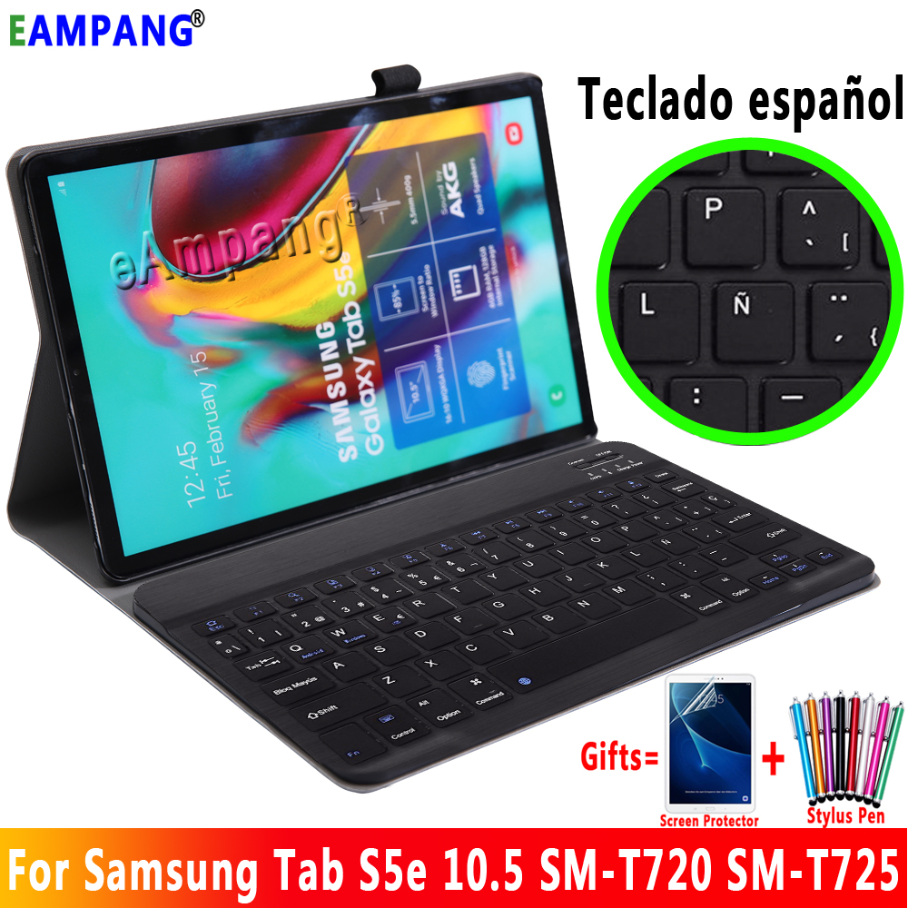 Spanish Keyboard Case for Samsung Galaxy Tab S5e 10.5 Case Cover T720 T725 SM-T720 Removable Bluetooth Keyboard Leather Funda image