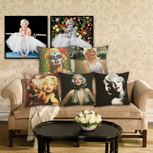 RECOLOUR Hollywood star Marilyn Monroe Home Decorative Cushion cover Sofa Throw Pillow Square Cojines Cotton Linen Almofadas