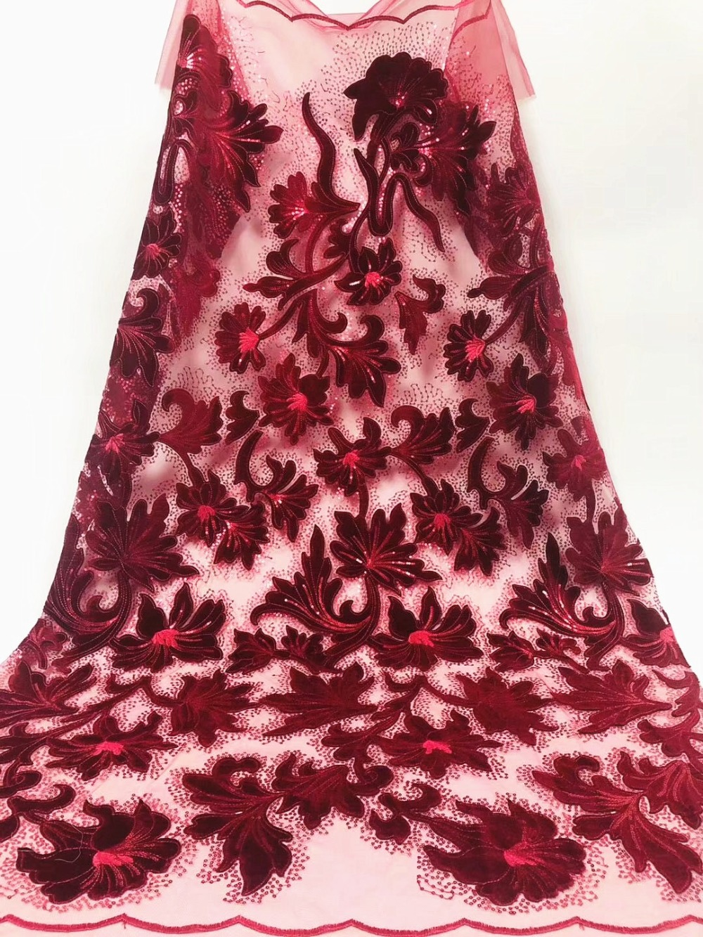 Latest Style French Lace Fabric With Sequins High Quality African Tulle Lace Fabric 2019 Nigerian Lace