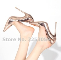 ALMUDENA Women Charming Champagne Rose Gold Pumps Pointed Toe Shallow Slip on Stiletto Heel Party Shoes Gold Silver Heels