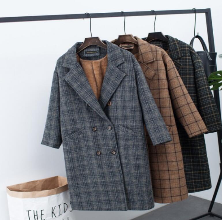 2018 Allentato Inverno Plaid Delle Giacca R365 Outwear Elegante Coreano Lana 1 Grandi Dimensioni Spessore Nuovo Del Caldo Donne Khaki Più gray Cappotto Di Velluto color 4fwqaxvqO8