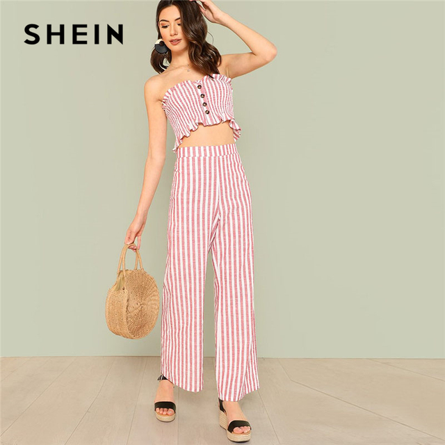 521919a207e2 SHEIN Shirred Ruffle Hem Strapless Top & Pants Set Women 2018 Pink Striped  Strapless Sleeveless Button