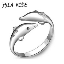 Fyla Mode Hot Sale Double Dolphin Happy Women In Love 925 Sterling Silver Ring Fashion Opening Female Accessories