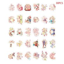 Postcard Sakura And Small Things 30 Hand-Painted Wind Cute Cat Cherry Blossom Boxed Card Set