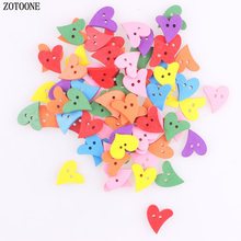 ZOTOONE 100pcs DIY Mix Random Corful Heart Wood Buttons 12*21MM Sewing Craft 2 Holes Wooden Clothes Scrapbooking Decor C