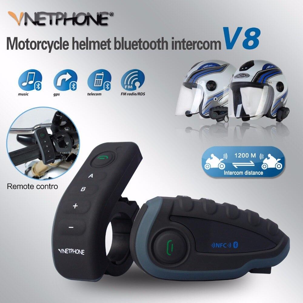 Vnetphone V8 BT Intercom Motorcycle 5 Riders BT Communication System Helmet Headphone Walkie Talkie NFC Remote Control professional walkie talkie headphone headsets k head