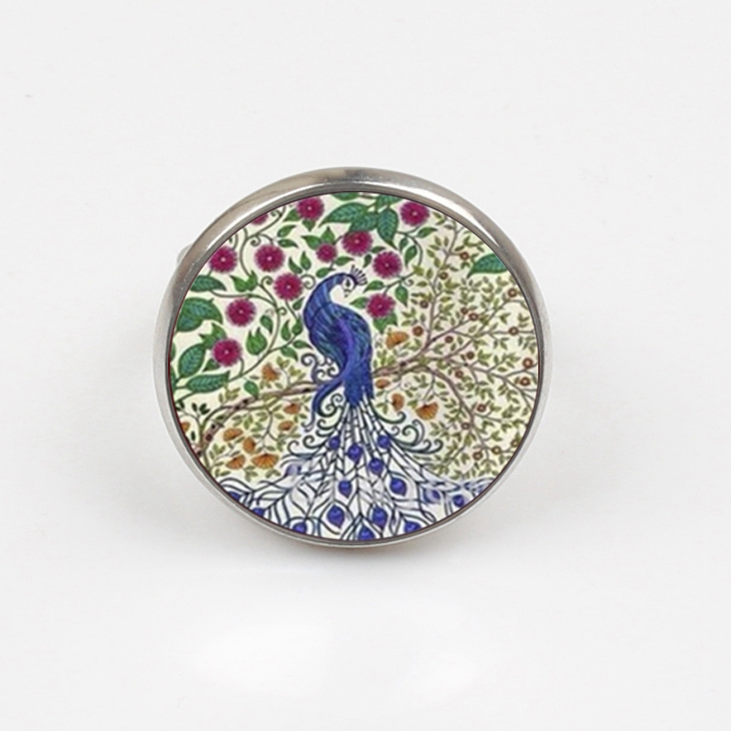 GDRGYB 2019 Peacock Ring Bird Jewelry Nature Glass Dome Art Ring Blue Ring Print Glass Ring in Rings from Jewelry Accessories