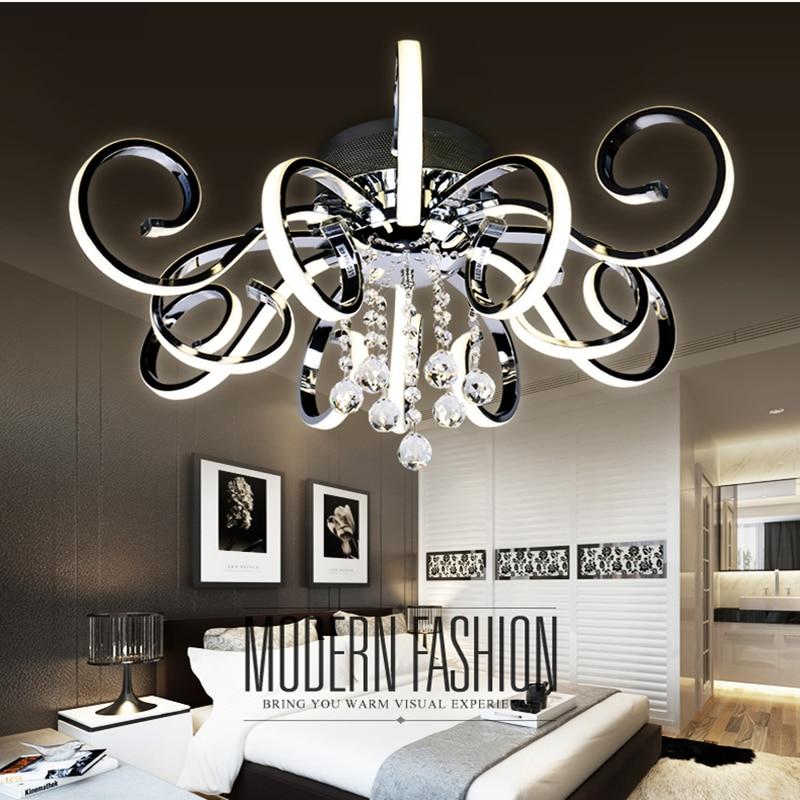 все цены на Post-modern simple led ceiling lamp living room lighting atmospheric creative personality crystal art hall master bedroom lights