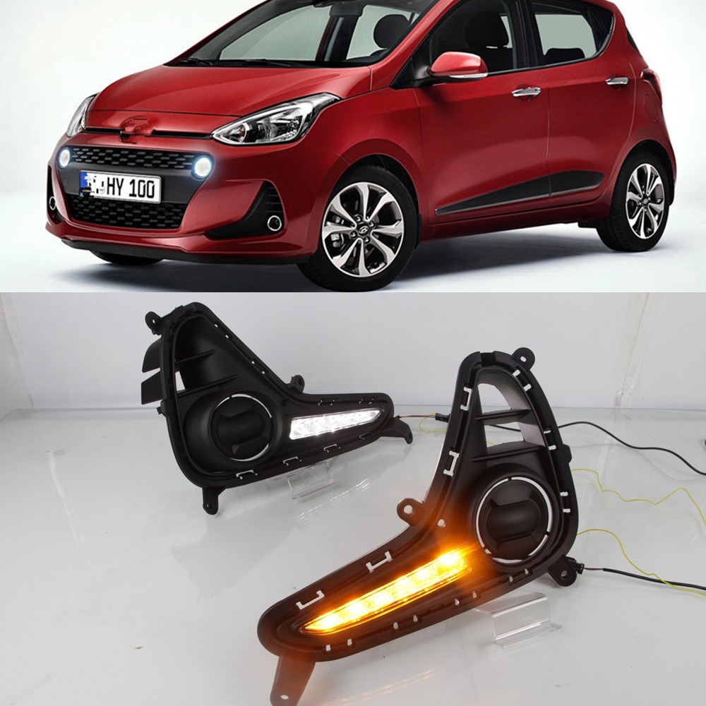 CSCSNL 1 set For Hyundai Grand I10 2017 2018 LED DRL Daytime Running Lights Daylight  Fog Lamp Cover Car  styling Accessories -in Car Light Assembly from Automobiles & Motorcycles    1