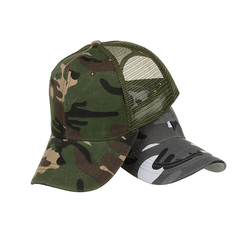 Camo Caps Men Ponytail Baseball Cap Women Snapback Hat Summer Messy Bun Mesh Hats Casual Adjustable Sport