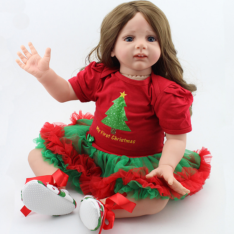 24 Inch Lifelike Newborn Baby Doll Realistic Soft Silicone Reborn Toddler Babies Toy Adora Long Hair Christmas Gift for Girl