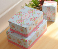 Free Shipping 2014New 3pc Set Jumbo Size Metal Tin Case Sweety Cake Box Cookie Box Blue