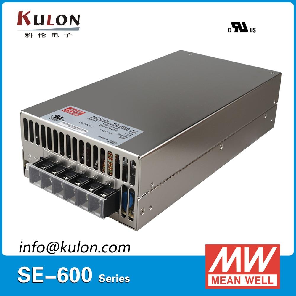Original MEAN WELL SE-600-12 600W 50A 12V Meanwell Switching Power Supply AC 110V/220V to DC 12V power unit se 600 12 factory outlet 12v 600w dc switching power supply 110 220vac input 50a 12v 600w power supply