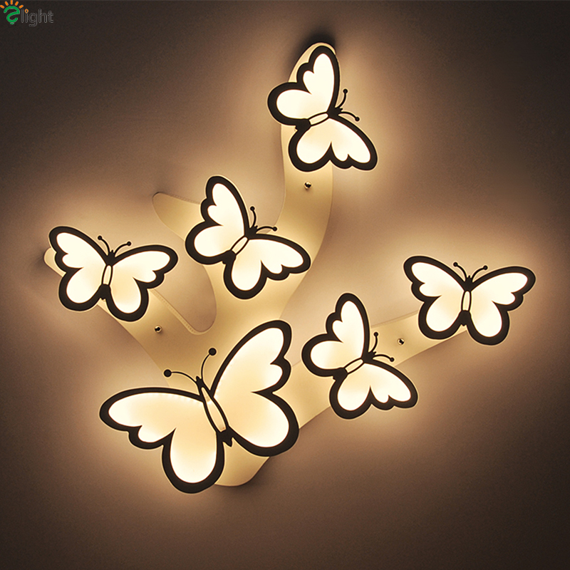 Modern Novelty Butterfly Dimmable Foyer Led Ceiling Chandelier Lights Lustre Acrylic Bedroom Led Chandeliers Lighting Fixtures
