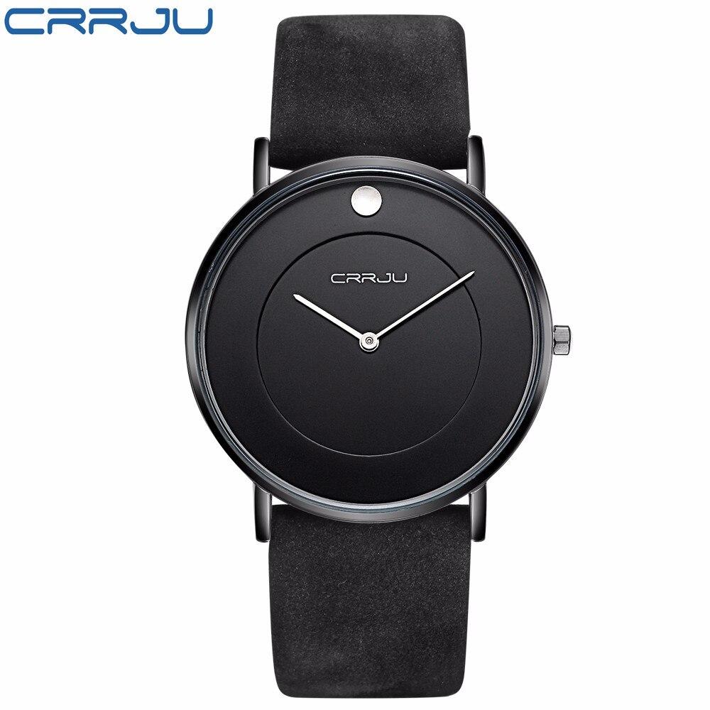 CRRJU New Brand Men Simple Sport Analog Quartz Watches With Black Leather Strap Fashion Men's Big Dial Clock Relogio Masculino