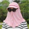 2016 de moda de verano nueva elástico 360 grados de ladys de las mujeres protector solar contra los RAYOS UV del sol sombrero salacot escalada al aire libre equitación cubierta tapas