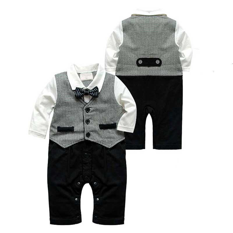 Baby Gentleman Romper Bow Ties Decor Boy Formal Clothes Birthday Party Baby Boys Clothing Plaid Vest Boys Jumpsuits