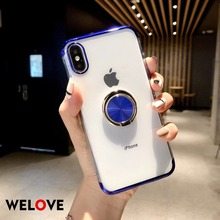 Luxury Magnetic Bracket phone Case for iPhoneX 8 7 6 6S Plus XS MAX XR Cover Transparent Car Holder Stand Finger Ring back shell